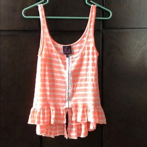Material Girl Pink & White button up tank top Sz S